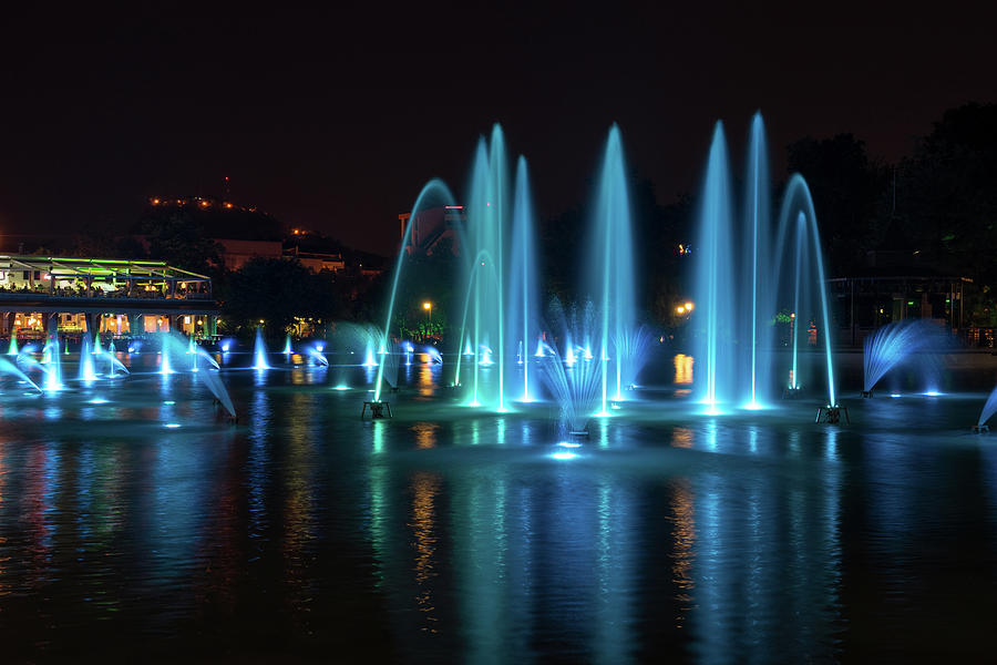 Jewel Toned Singing Fountains - Topaz in Swiss Blue and Imperial Yellow  by Georgia Mizuleva