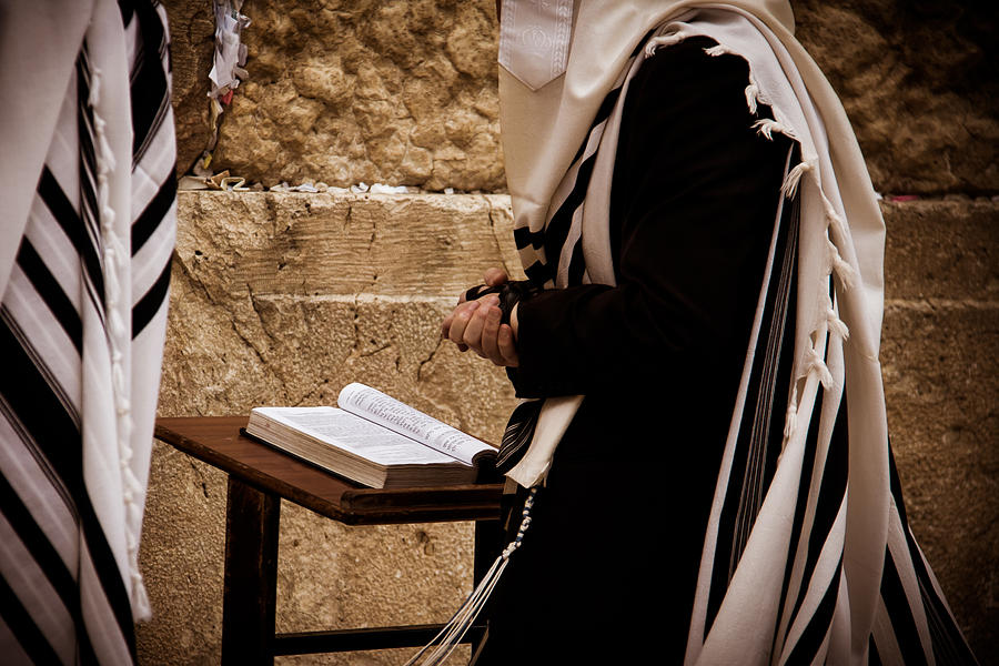 Jewish Man Praying at the Wailing Wall Photograph by Josh Wentz