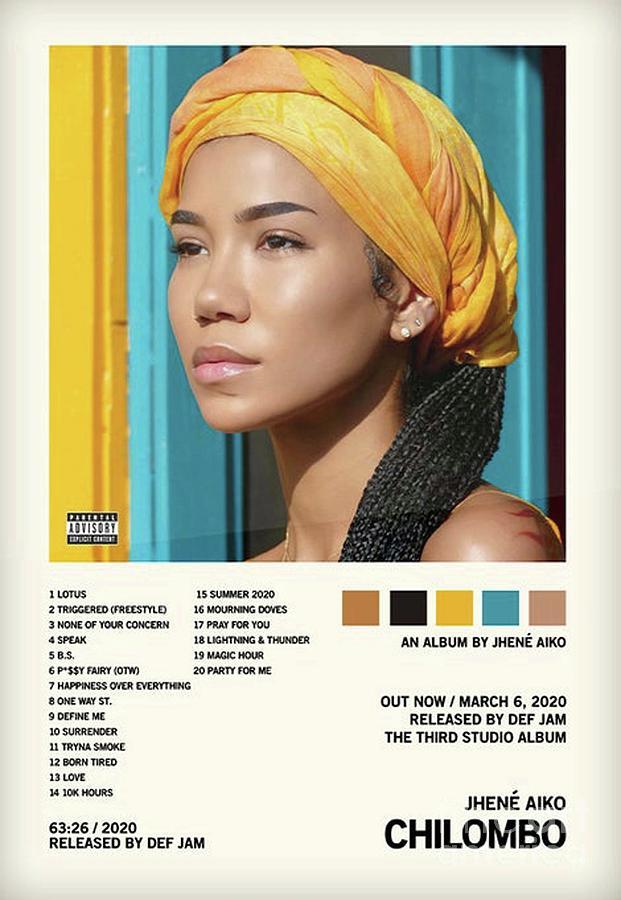"Jhené Aiko ""Chilombo/"" Art 2020 Music Album Poster HD Print Decor 12 16 20 24/"""