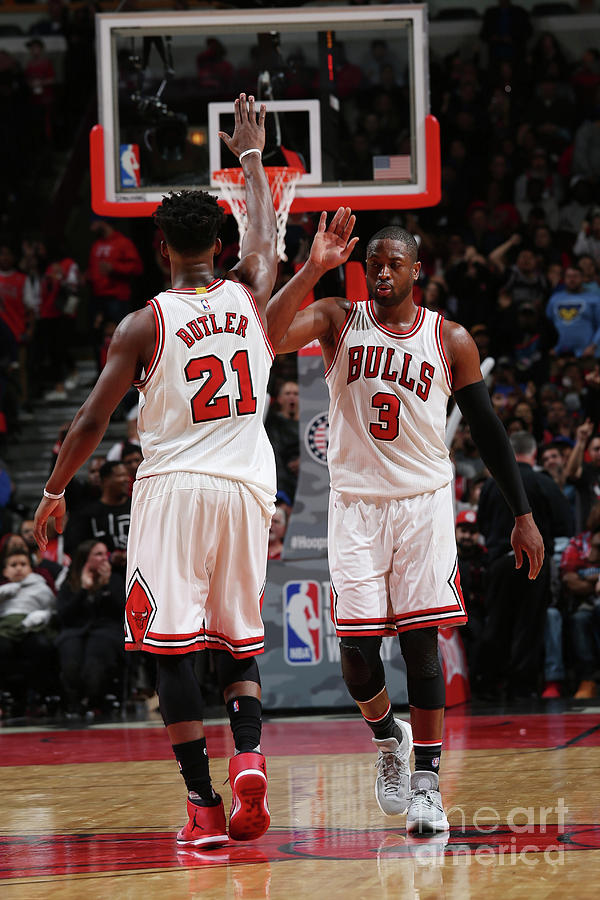 Jimmy Butler and Dwyane Wade Photograph by Gary Dineen