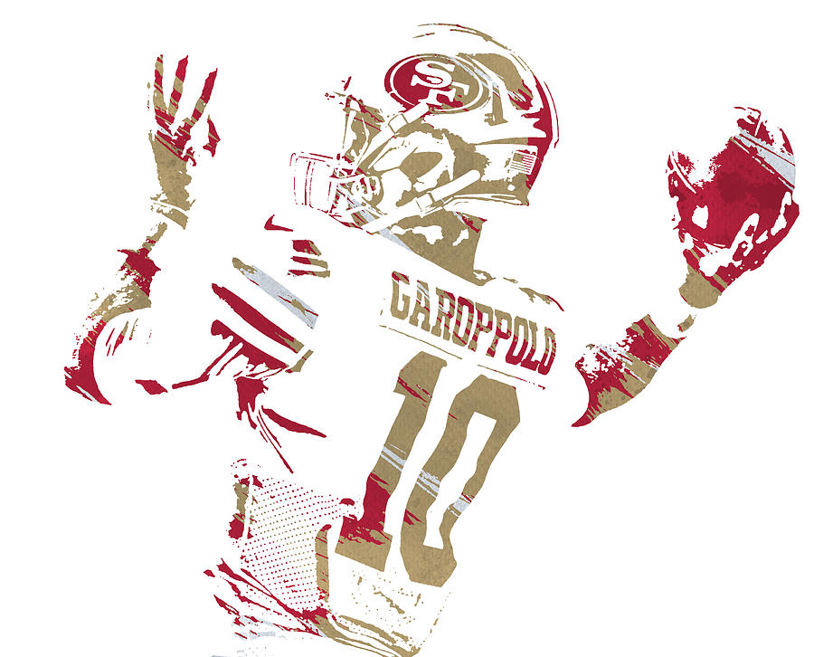 Jimmy Garoppolo SAN FRANCISCO 49ERS WATERCOLOR STROKES PIXEL ART 3 by Joe Hamilton