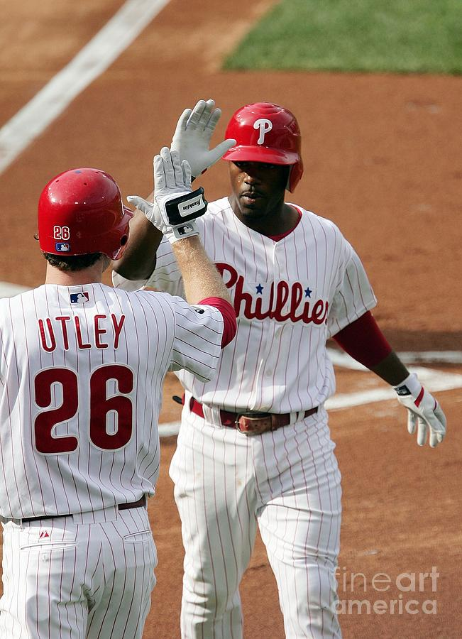 Jimmy Rollins And Chase Utley Photograph by Drew Hallowell