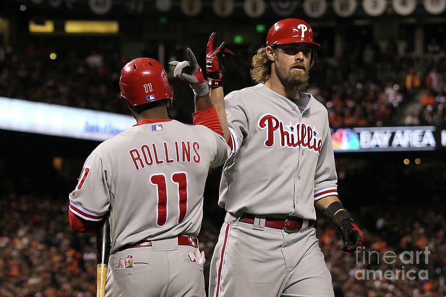 Jimmy Rollins and Jayson Werth Photograph by Justin Sullivan