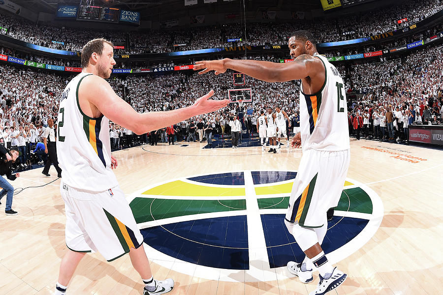 Joe Ingles and Derrick Favors Photograph by Andrew D. Bernstein