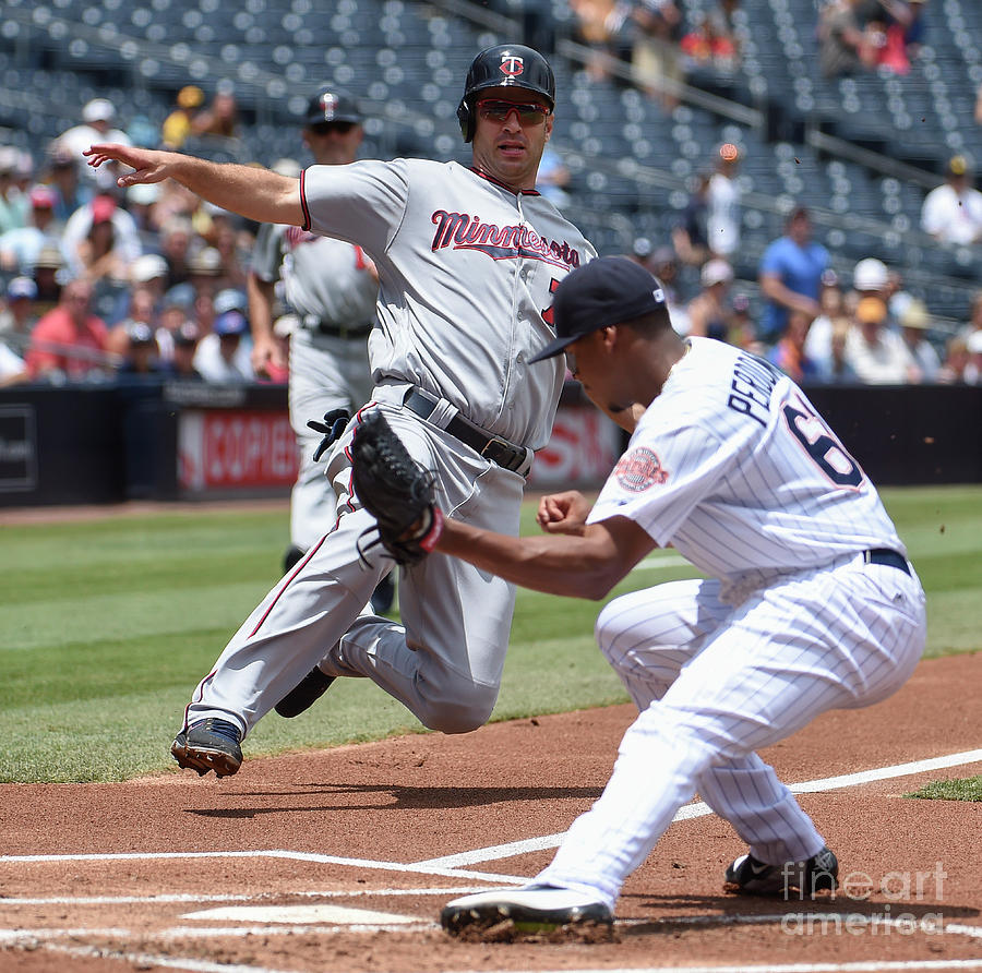 Joe Mauer and Luis Perdomo Photograph by Denis Poroy
