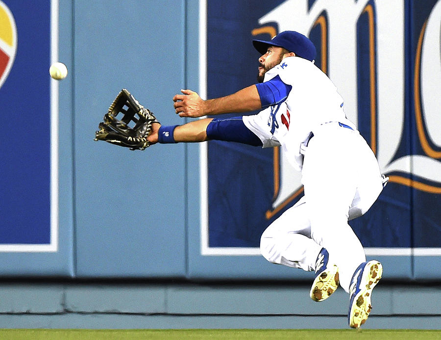 Joe Panik and Andre Ethier Photograph by Harry How