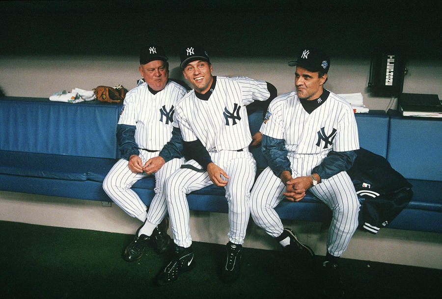 Joe Torre, Derek Jeter, and Don Zimmer Photograph by Rich Pilling
