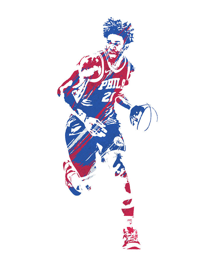 JOEL EMBIID PHILADELPHIA 76ERS WATERCOLOR STROKES PIXEL ART 1 by Joe Hamilton