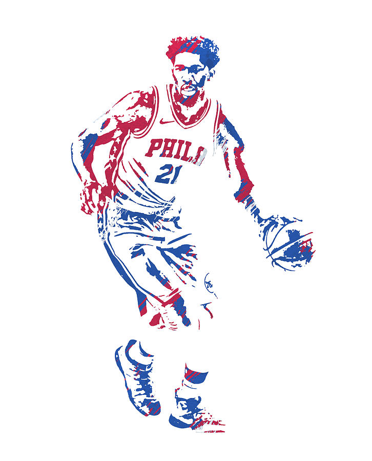 JOEL EMBIID PHILADELPHIA 76ERS WATERCOLOR STROKES PIXEL ART 2 by Joe Hamilton