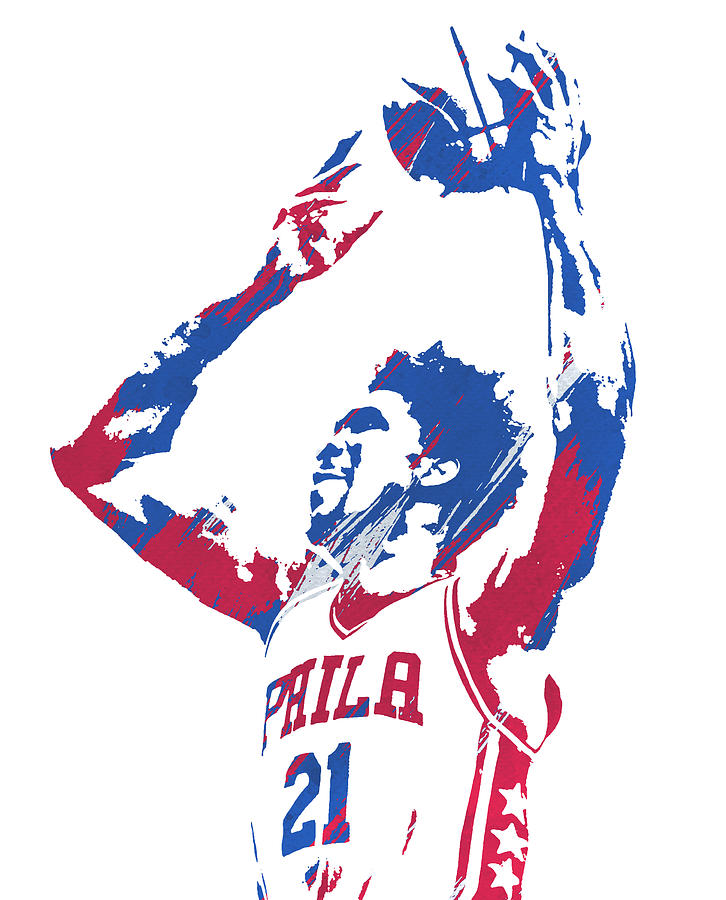 JOEL EMBIID PHILADELPHIA 76ERS WATERCOLOR STROKES PIXEL ART 3 by Joe Hamilton