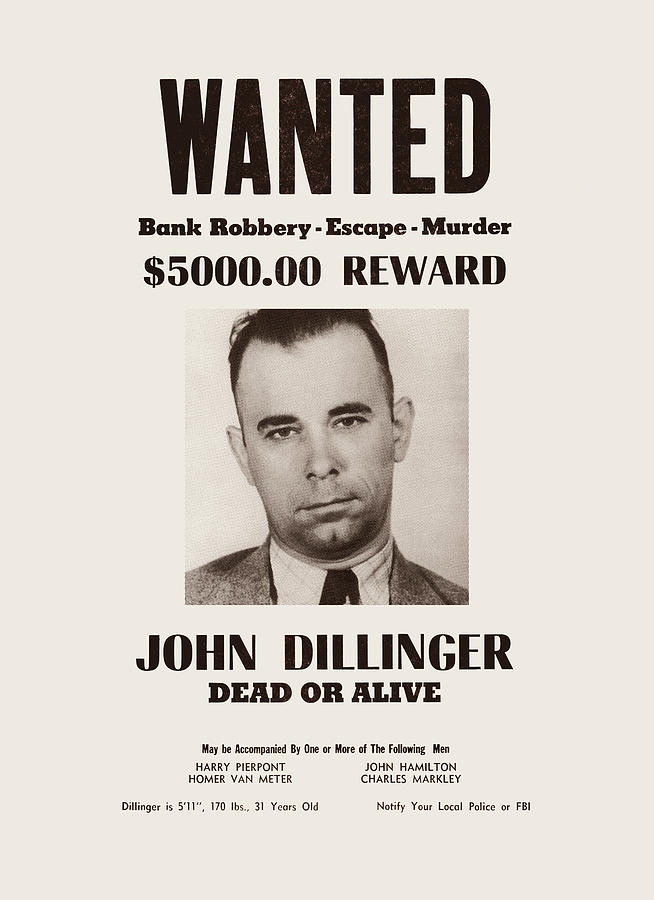 John Dillinger - Wanted Dead Or Alive by War Is Hell Store