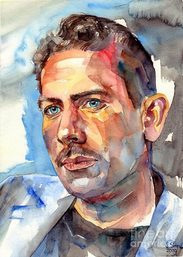 John Steinbeck Painting - John Steinbeck Portrait by Suzann Sines