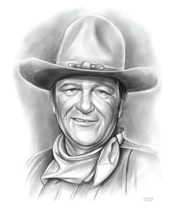 John Wayne Drawing - John Wayne 23DEC20 by Greg Joens