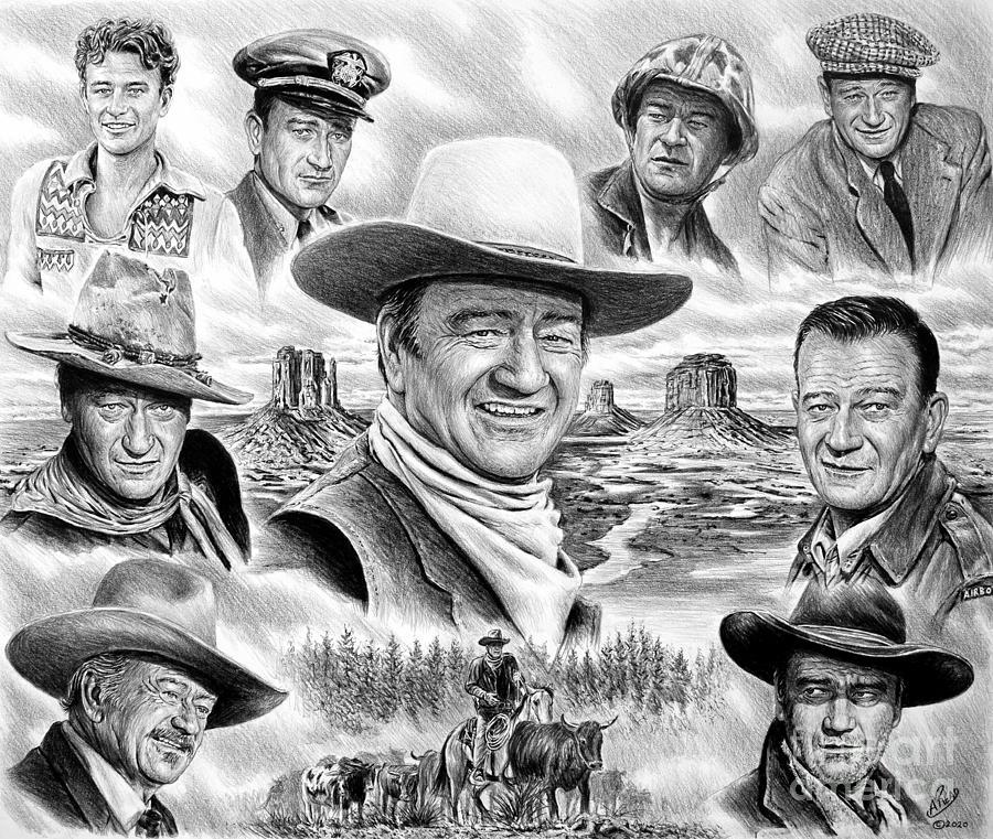 John Wayne Drawing - John Wayne collage by Andrew Read