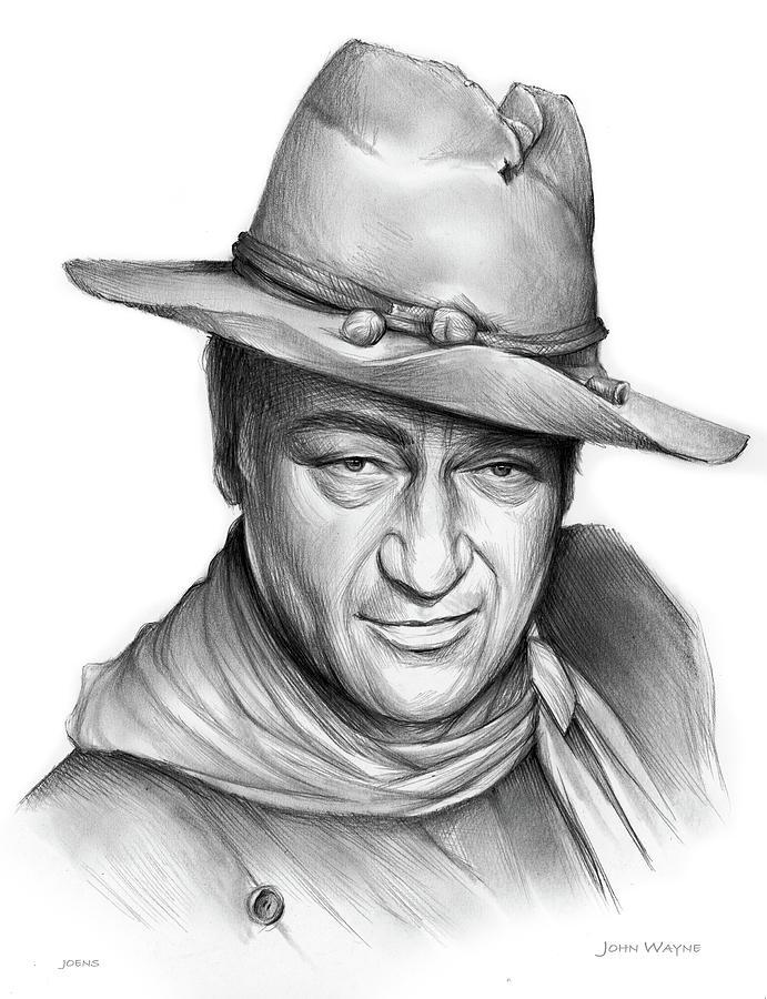 John Wayne Drawing - John Wayne - Pencil by Greg Joens
