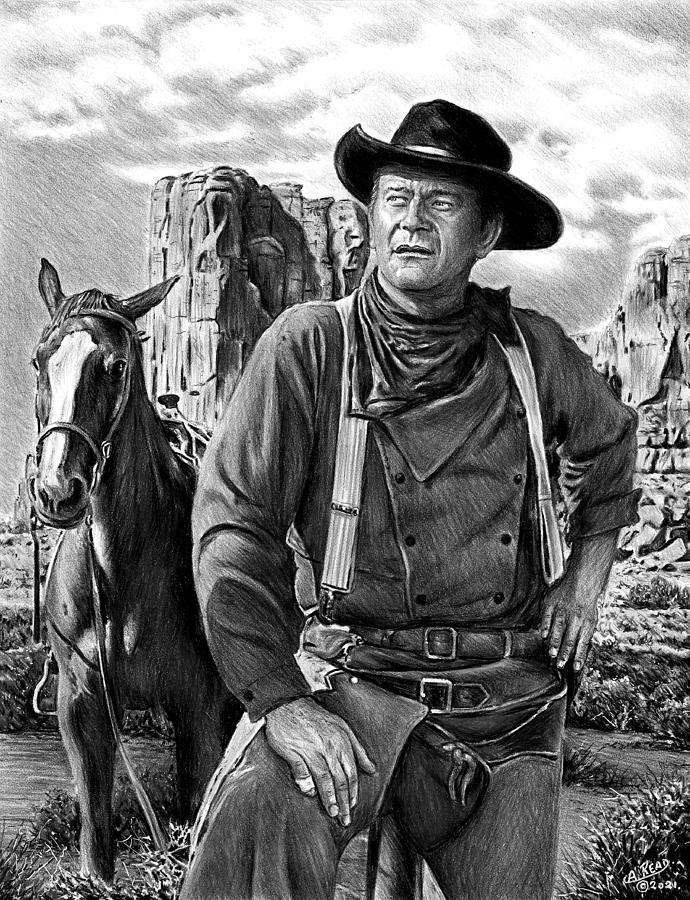 John Wayne The Searchers Bw Version Drawing