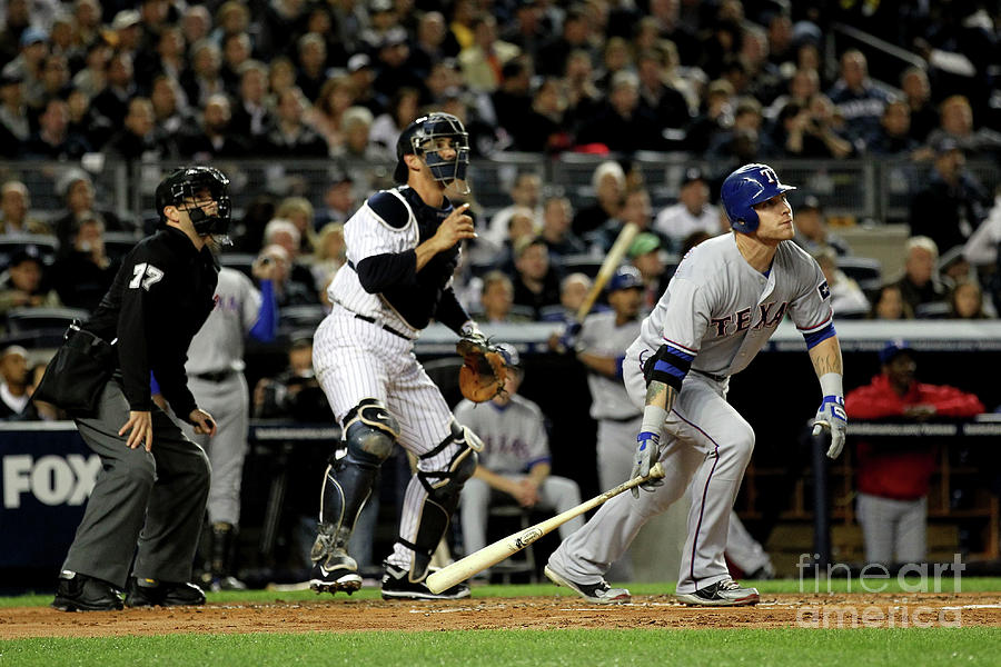 Josh Hamilton and Jorge Posada Photograph by Al Bello
