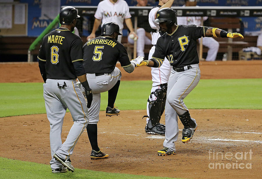 Josh Harrison, Andrew Mccutchen, and Starling Marte Photograph by Mike Ehrmann