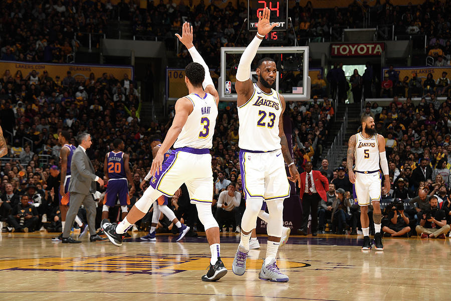 Josh Hart and Lebron James Photograph by Andrew D. Bernstein
