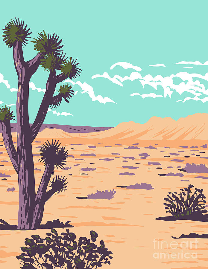 Joshua Tree In Tule Springs Fossil Beds National Monument Near Las Vegas Clark County Nevada Wpa Poster Art Digital Art