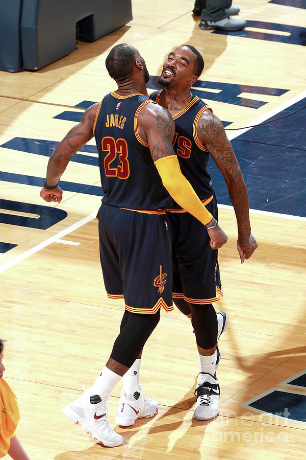 J.r. Smith and Lebron James Photograph by Jeff Haynes