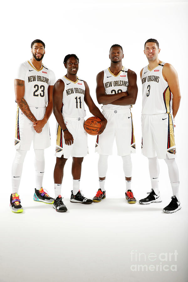 Jrue Holiday, Anthony Davis, and Julius Randle Photograph by Jonathan Bachman