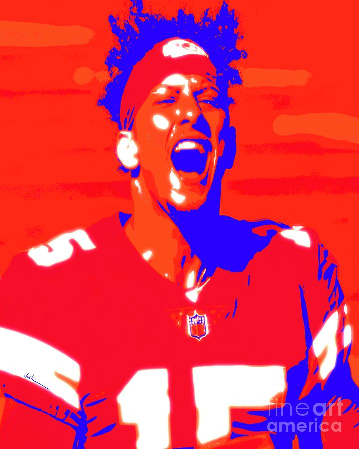 Chiefs Painting - Jubilant Mahomes by Jack Bunds