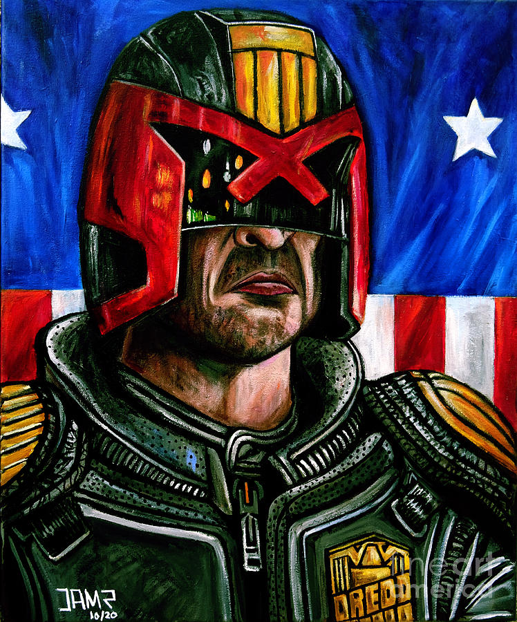 Dredd Painting - Judge Dredd by Jose Mendez