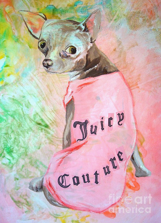 Dog Painting - Juicy Couture Pup by Holly Picano