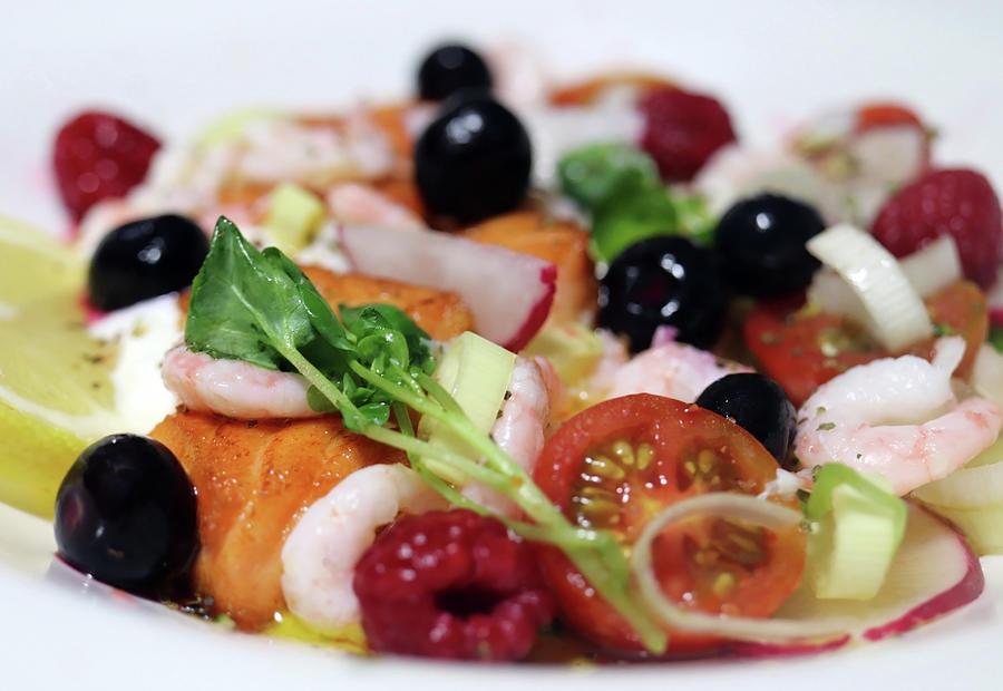 Juicy Salmon Shrimp Berries And Watercress Photograph