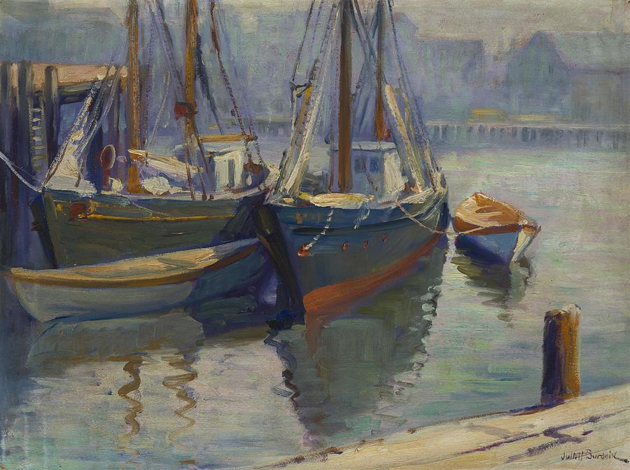 Juliet Burdoin B 1873   Docked Sailboat, Gloucester Painting