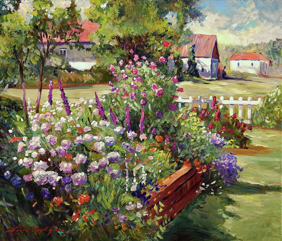 Gardens Painting - July Country Garden by David Lloyd Glover