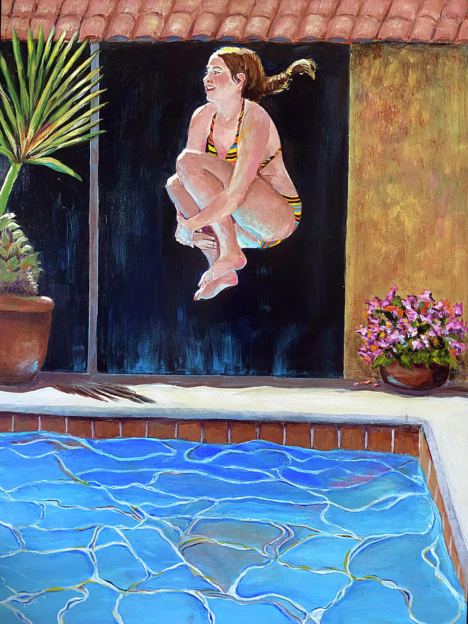 Swim Painting - Jump by Linda Queally