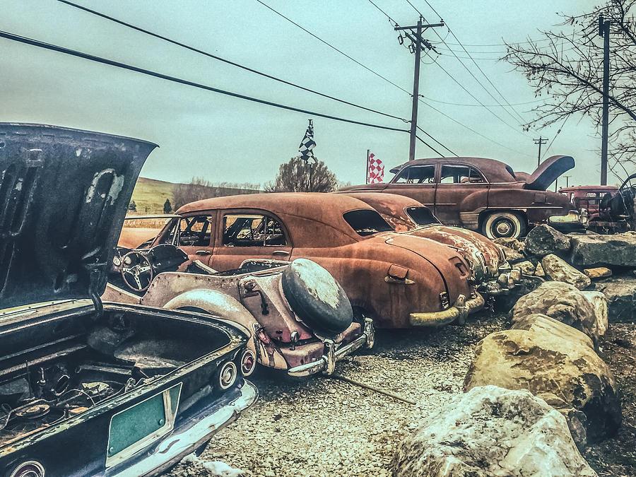 Junkyard Cars Mixed Media