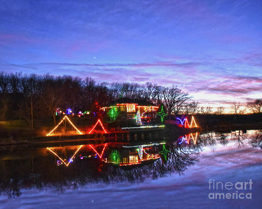 Jupiter Saturn Conjunction With Christmas Lights Photograph