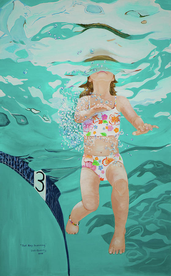 Swimming Pool Painting - Just Keep Swimming by Linda Queally