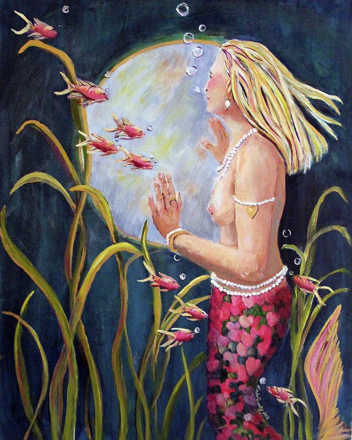 Mermaid Painting - Just Looking by Linda Queally