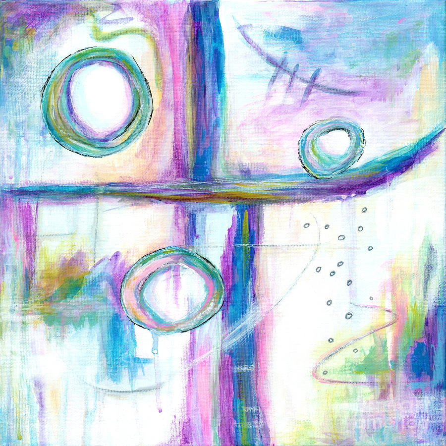 Abstract Expressionism Painting - Just the Three of Us, Abstract Expressionist Painting by Itaya Lightbourne