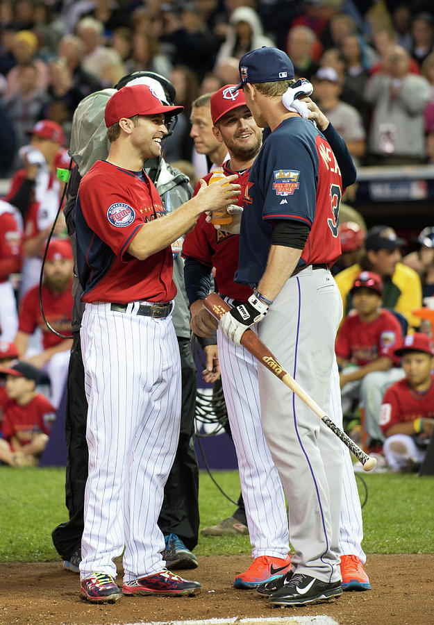 Justin Morneau, Glen Perkins, and Brian Dozier Photograph by Ron Vesely