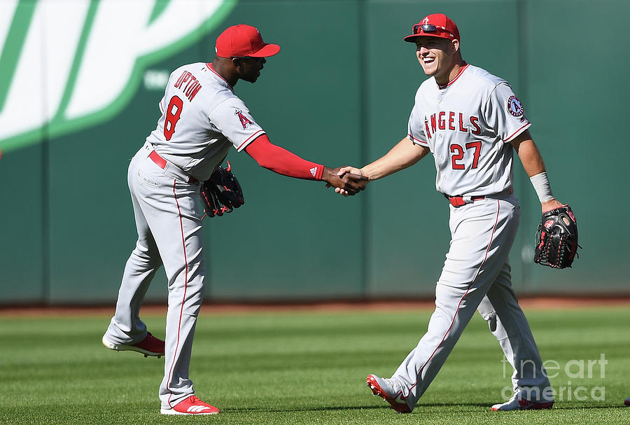 Justin Upton and Mike Trout Photograph by Thearon W. Henderson