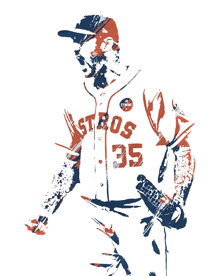 JUSTIN VERLANDER HOUSTON ASTROS WATERCOLOR STROKES PIXEL ART 1 by Joe Hamilton