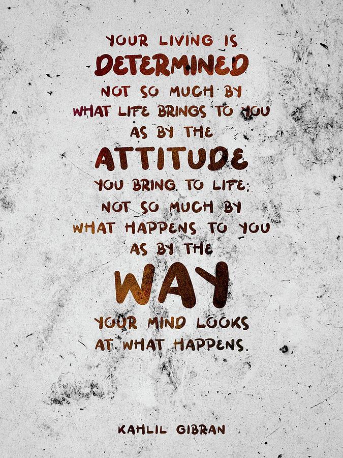 Kahlil Gibran - Quote On Life 01 - Typographic Print - Attitude, Mind Mixed Media