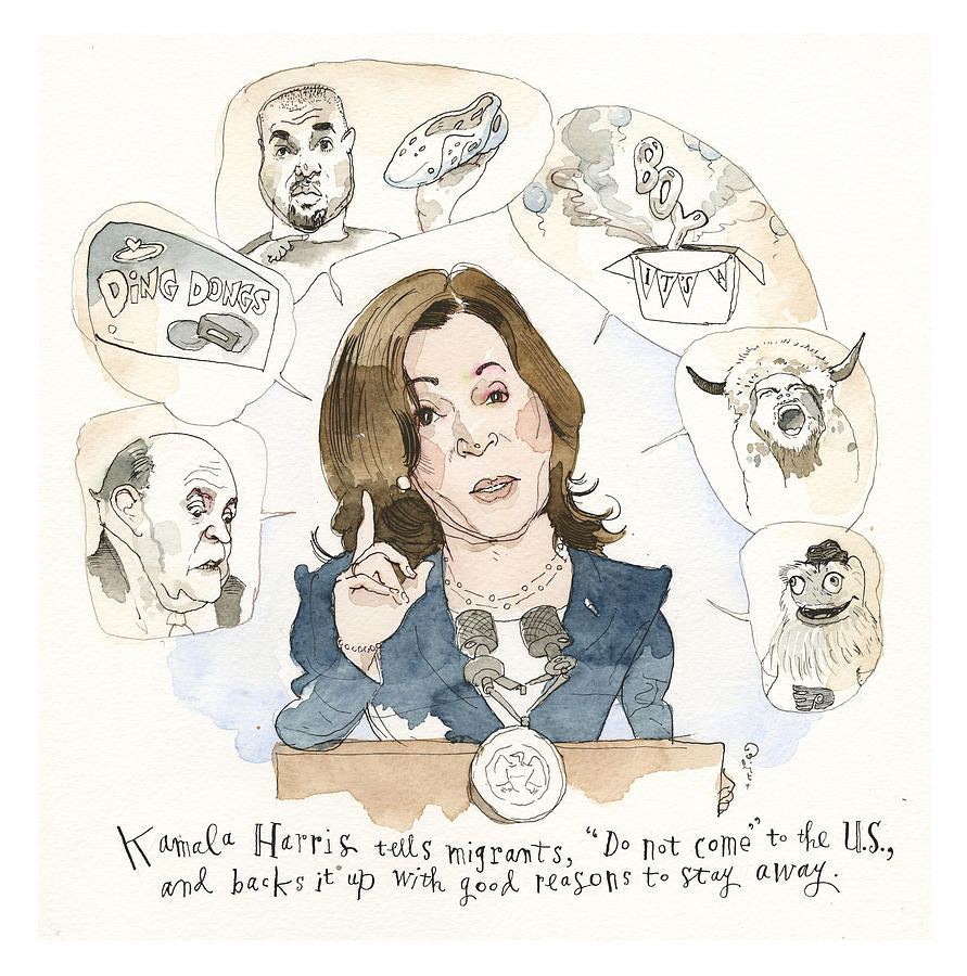 Kamala Harris Argues Her Case Painting by Barry Blitt