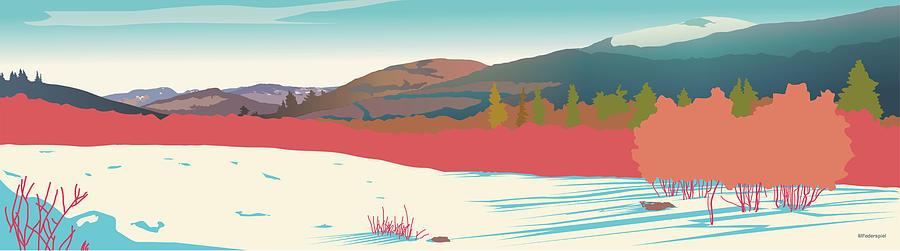 Winter Digital Art - Kancamagus Overlook by Marian Federspiel