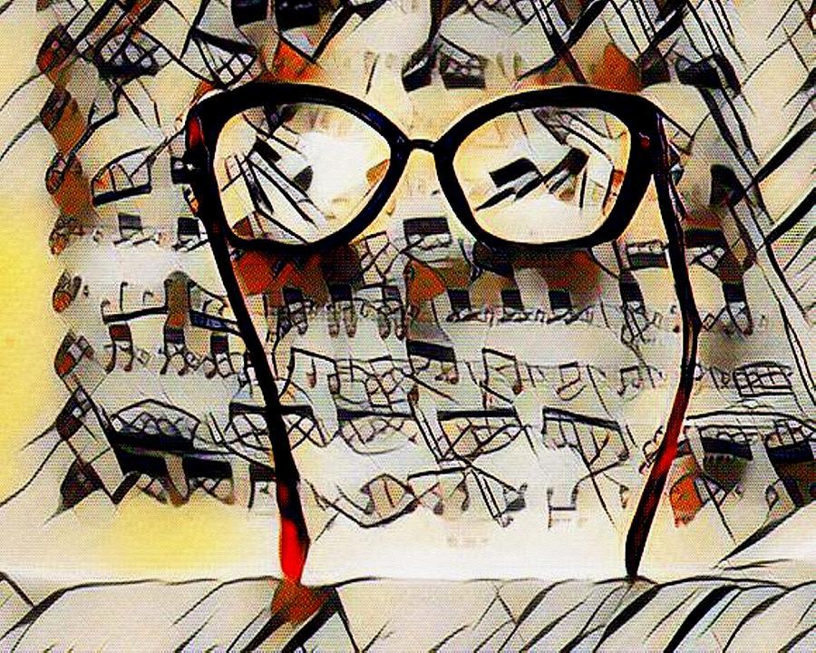 Kandinskycalia - Sheet Music And Spectacles L B Digital Art