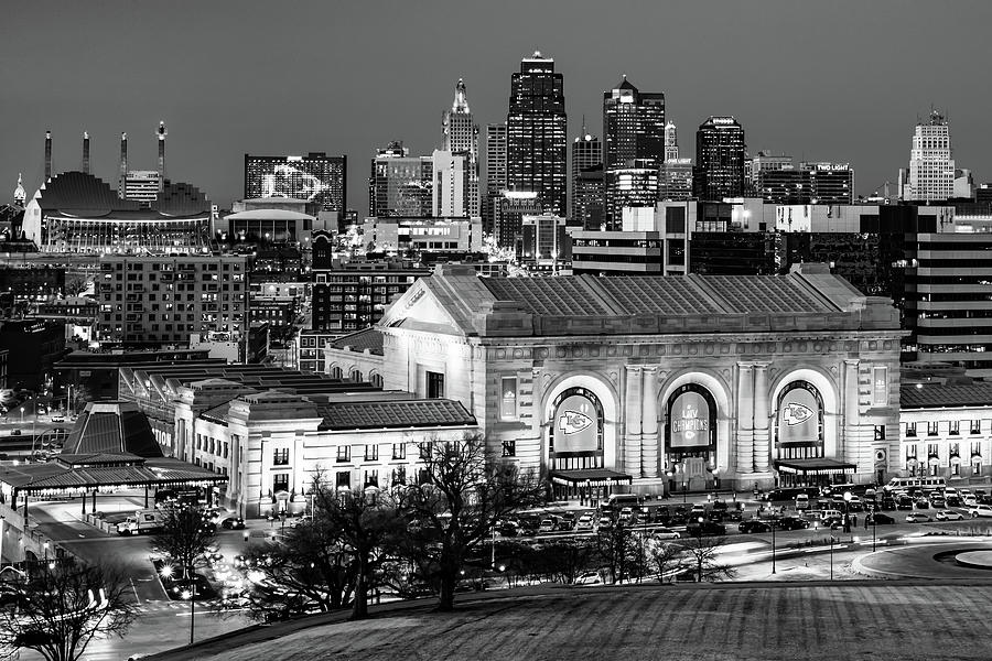 Kansas City Championship Skyline In Black And White Photograph