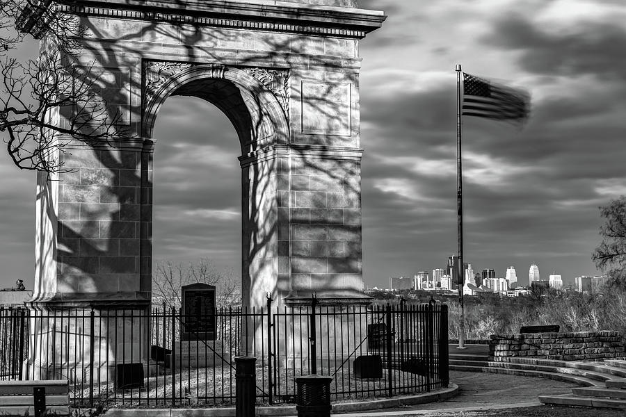 Kansas City Rosedale Arch And Skyline - Black And White Photograph