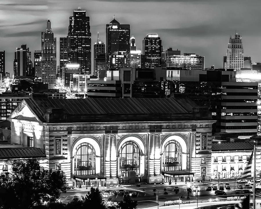 Kansas City Skyline And Union Station At Dusk In Black And White Photograph