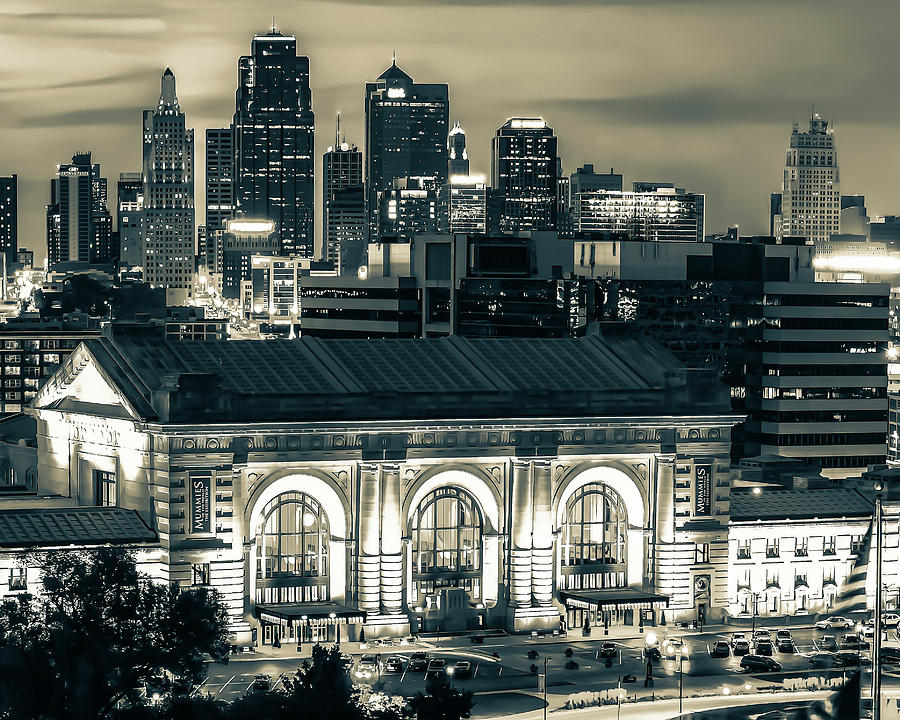 Kansas City Skyline And Union Station At Dusk In Sepia Photograph