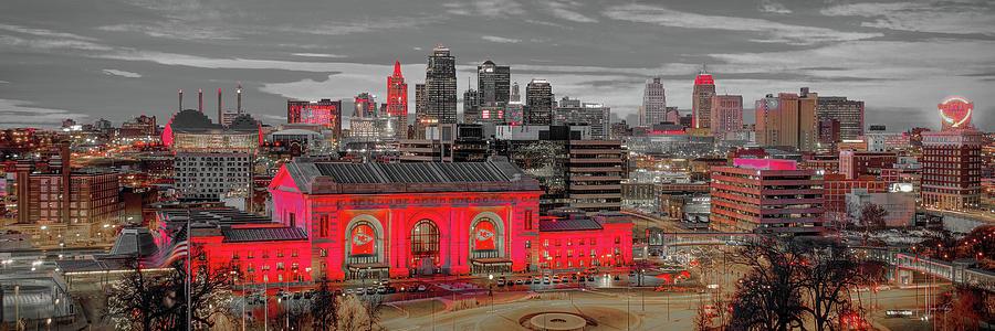 Kansas City Skyline Dusk Kc Chiefs Artistic Union Station Red Chiefskingdom Panoramic Photograph